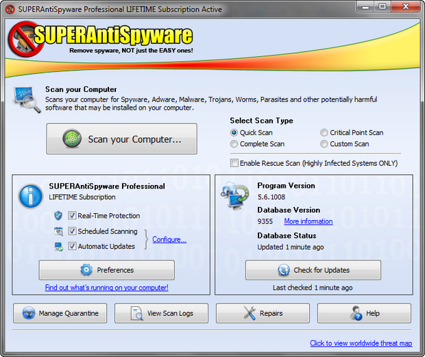 SuperAntiSpyware 5.6 screenshot (620 pix)