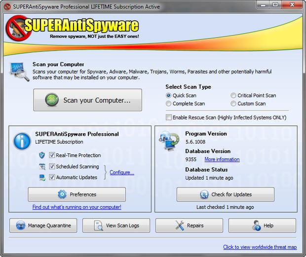 SuperAntiSpyware 5.6 screenshot (620 pix)