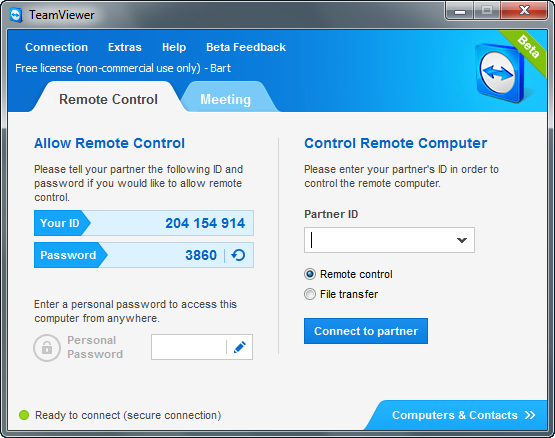 TeamViewer 8.0 bèta screenshot