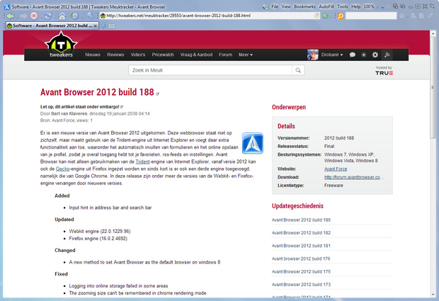 Avant Browser 2012 build 188 screenshot (620 pix)