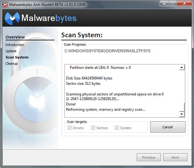 Malwarebytes' Anti-Rootkit 1.01.0.1009 bèta screenshot