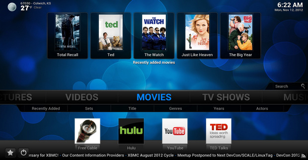 XBMC Media Center 12.0 screenshot (620 pix)