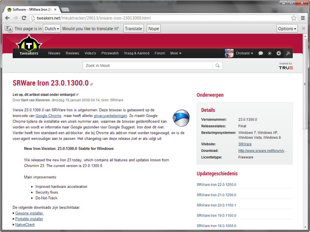 SRWare Iron 23.0.1300.0 screenshot (620 pix)