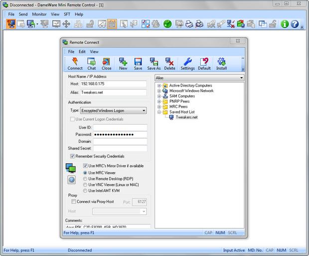 Dameware Mini Remote Control screenshot (620 pix)