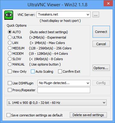 UltraVNC 1.1.8 Viewer screenshot