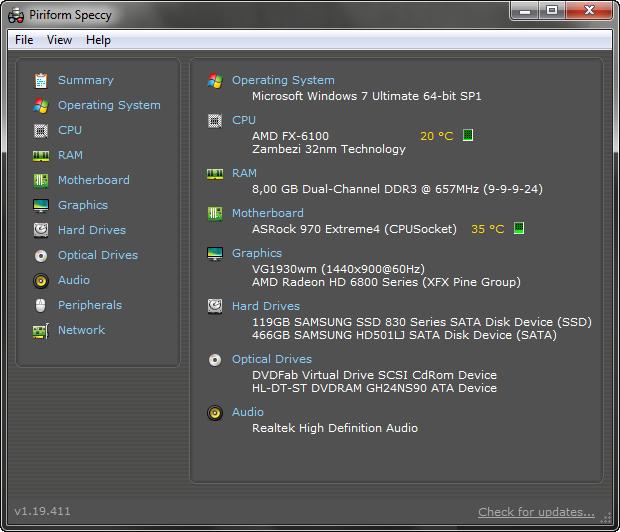 Speccy 1.19 build 411 screenshot
