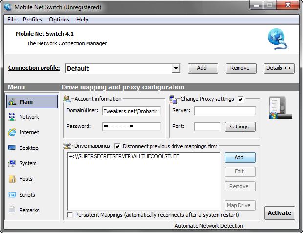 Mobile Net Switch screenshot (620 pix)
