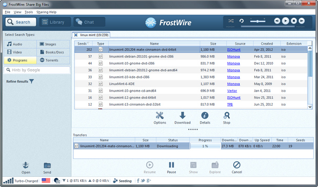 FrostWire screenshot (620 pix)