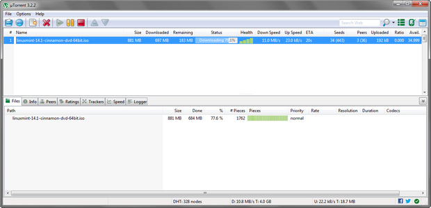 µTorrent 3.2.2 screenshot (620 pix)