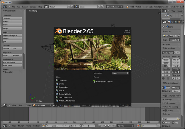 Blender 2.65 screenshot (620 pix)