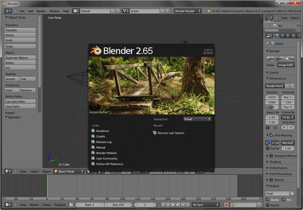 Blender 2.65 screenshot (620 pix)