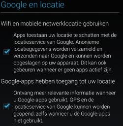 Android apparaat setup locatiescherm