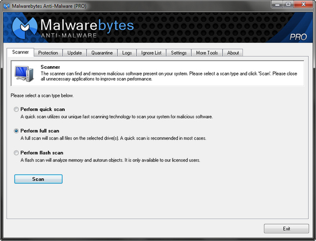Malwarebytes' Anti-Malware screenshot (620 pix)