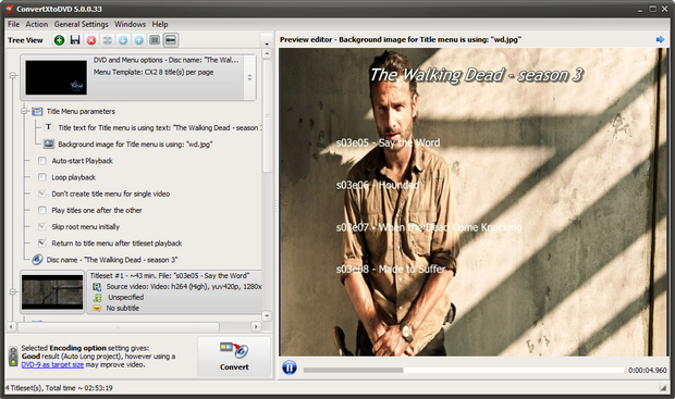 ConvertXtoDVD 5.0 screenshot (620 pix)