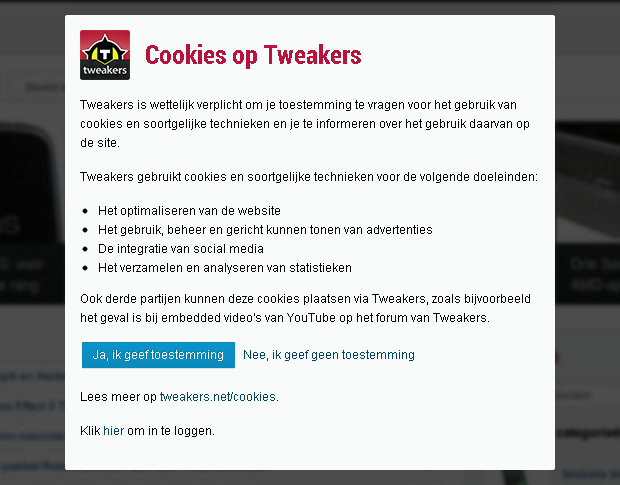 Cookienotificatie op Tweakers