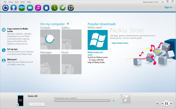 Nokia Suite 3.7.22 screenshot (620 pix)