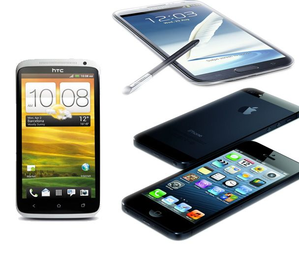 HTC One X, Samsung Galaxy Note II en iPhone 5