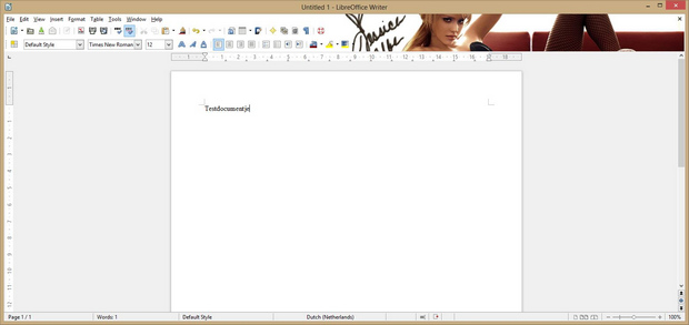 LibreOffice 4.0 Writer met Firefox skin screenshot (620 pix)