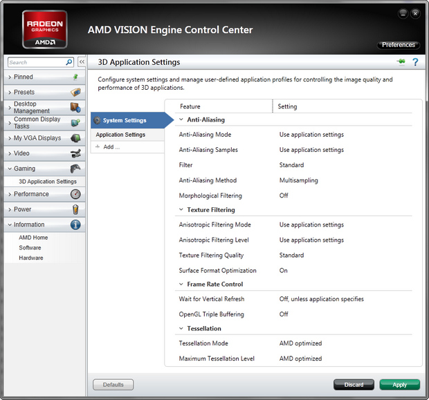 AMD Vision Engine Control Center screenshot (620 pix)