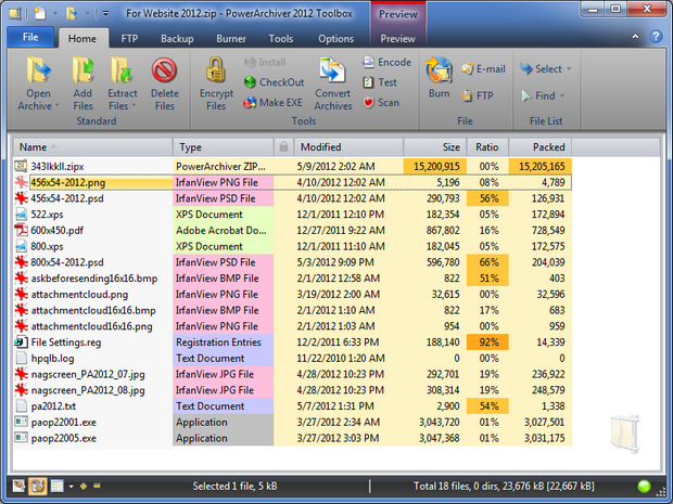 PowerArchiver 2012 screenshot (620 pix)