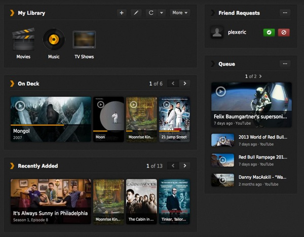 Plex dashboard screenshot