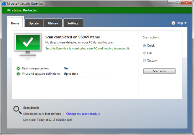 Microsoft Security Essentials 4.1.509.0 prerelease screenshot (620 pix)