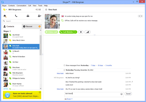 Skype for Windows 6.2 screenshot (620 pix)