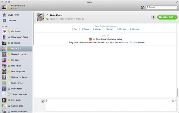 Skype for Mac 6.2 screenshot (620 pix)