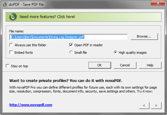doPDF 7.3 build 387 screenshot (620 pix)