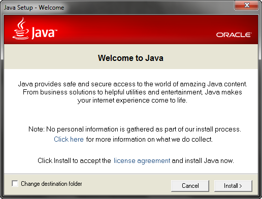 Oracle Java screenshot
