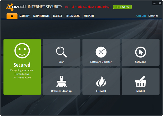 Avast Internet Security 8.0 screenshot (620 pix)