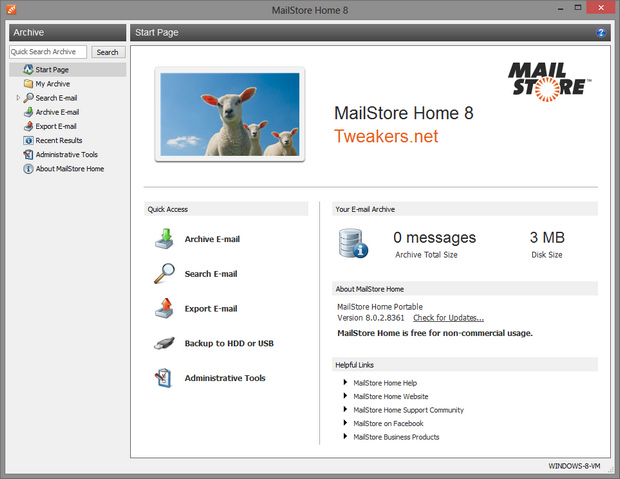 MailStore Home screenshot (620 pix)