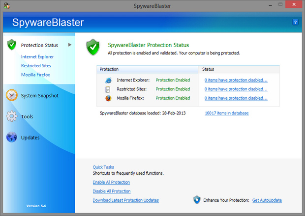 SpywareBlaster 5.0 screenshot (620 pix)