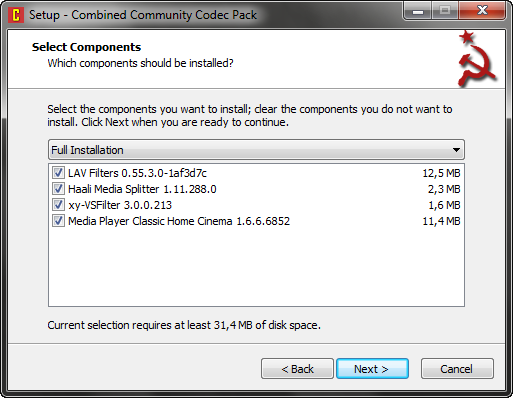 Combined Community Codec Pack 02.03.2013 screenshot
