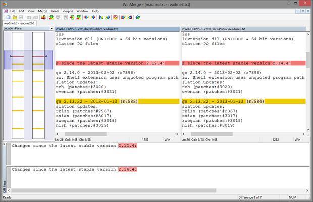 WinMerge 2.14.0 screenshot (620 pix)