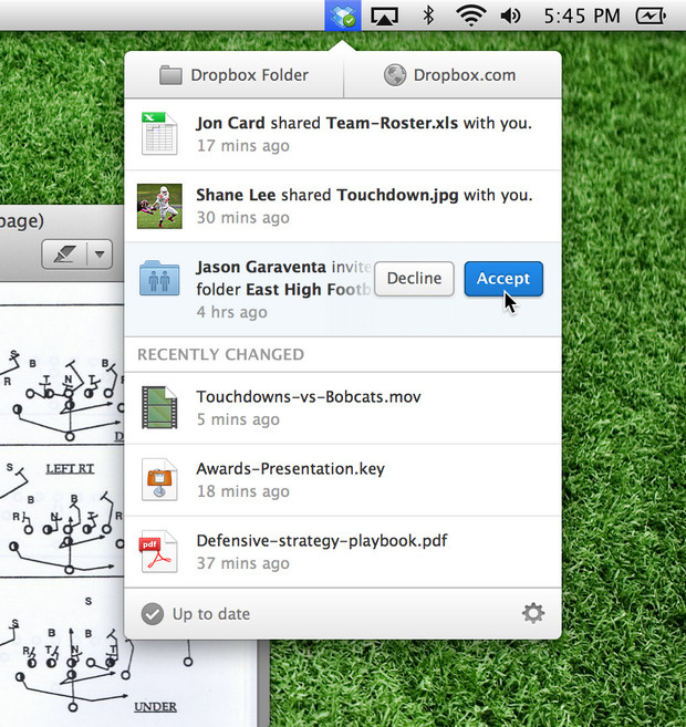 Dropbox 2.0.0 notification on Mac screenshot (620 pix)