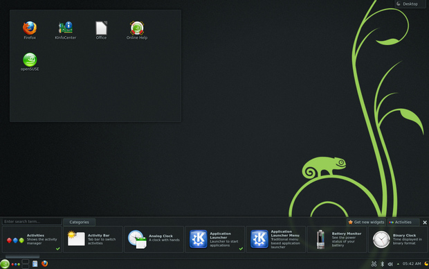 Widgets in openSUSE 12.3 screenshot (620 pix)