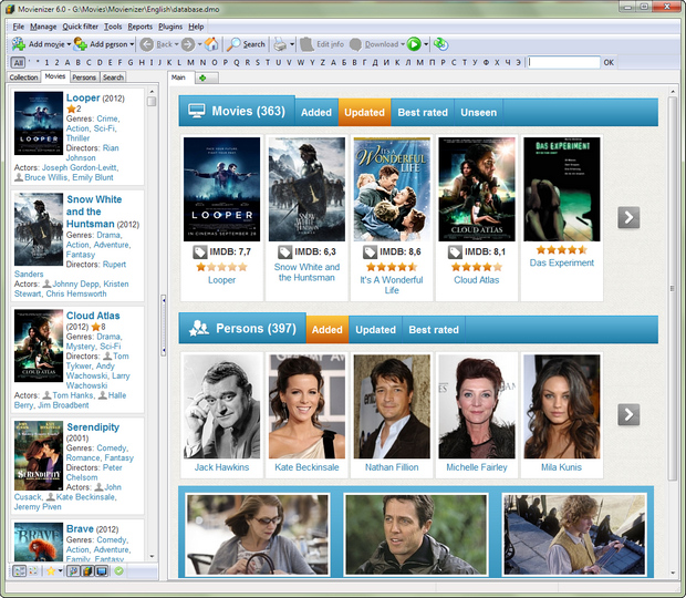 Movienizer 6.0 screenshot (620 pix)