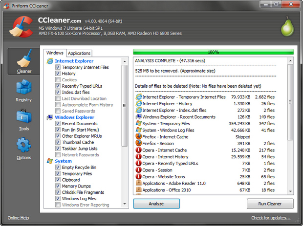 CCleaner 4.0 screenshot (620 pix)