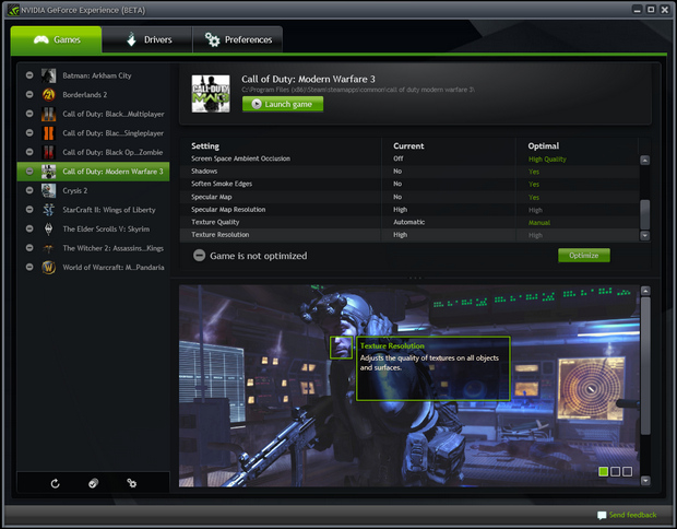 nVidia GeForce Experience screenshot (620 pix)