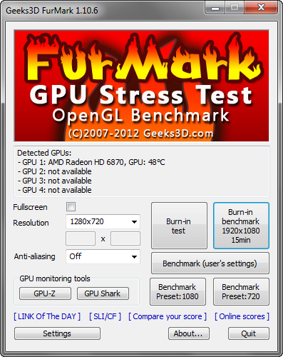 FurMark 1.10.6 screenshot