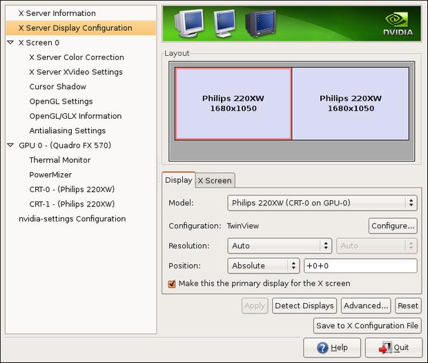 nVidia drivers onder Linux screenshot (620 pix)