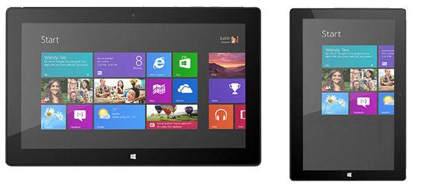 """Mockup: Microsoft Surface Pro en 7""""-versie ernaast"""