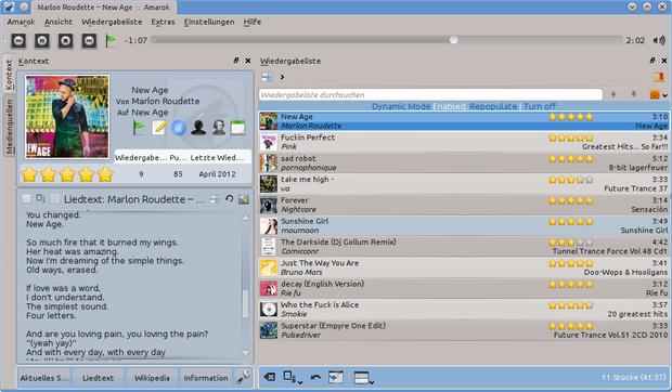 Amarok screenshot (620 pix)