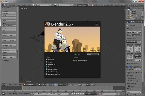 Blender 2.67 screenshot (620 pix)