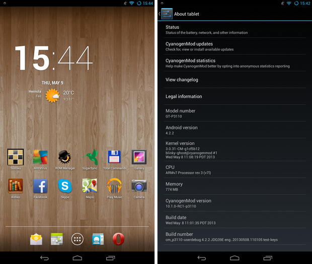 CyanogenMod 10.1.0 screenshots op Samsung Galaxy Tab 2 7.0 (620 pix)