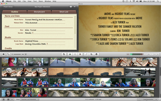 Apple iMovie screenshot (620 pix)