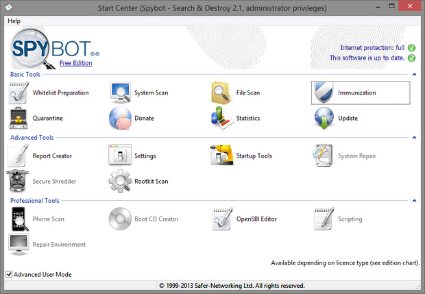 Spybot - Search & Destroy 2.1 screenshot