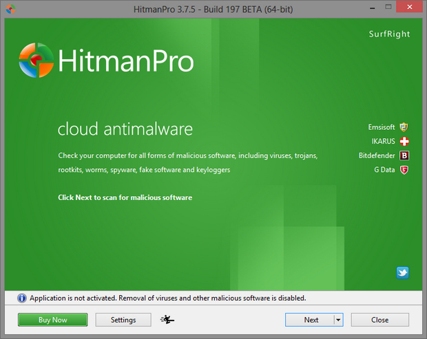 HitmanPro 3.7.5 bèta screenshot (620 pix)