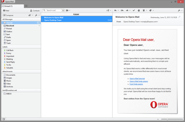 Opera Mail screenshot (620 pix)